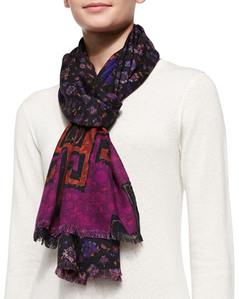 Floral Print Scarf, Black/Purple/Multi