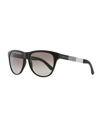Plastic Round-Bottom Rectangle Sunglasses, Black/Gray