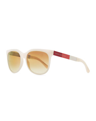 Plastic Round-Bottom Rectangle Sunglasses, Pink/Brown