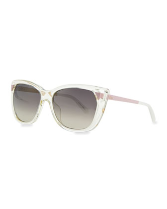 Transparent Plastic Cat-Eye Sunglasses, Clear/Pink/Brown