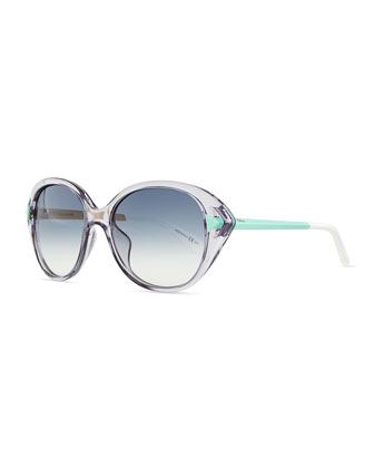 Transparent Plastic Cat-Eye Sunglasses, Lilac Aqua