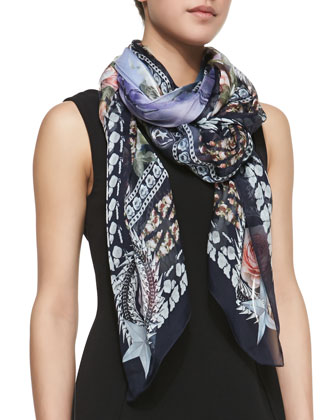 Paradise Flowers Silk Scarf, Lilac