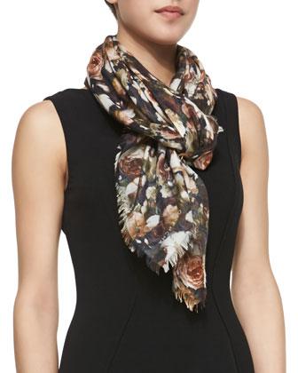 Vintage Roses Square Silk-Wool Scarf