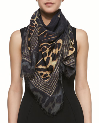 Square Silk-Wool Shaded Leopard Logo Scarf