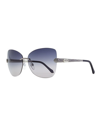 Rimless Sunglasses with Snake-Print Arms, Palladium/Lavender