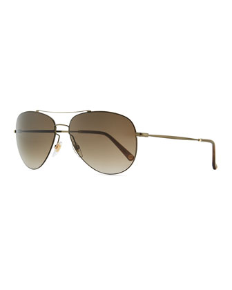 Metal Aviator Sunglasses, Olive