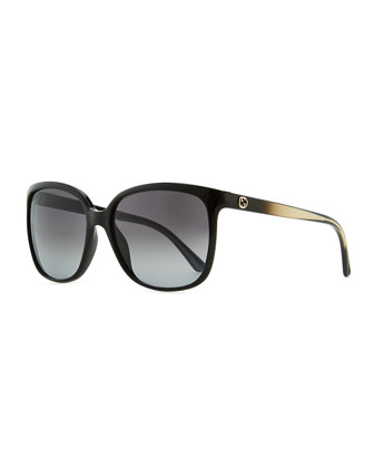 Plastic Square Sunglasses, Black