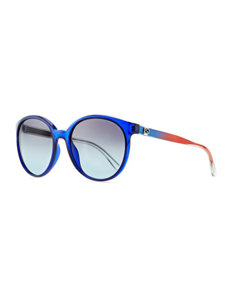 Round Transparent Plastic Sunglasses, Blue