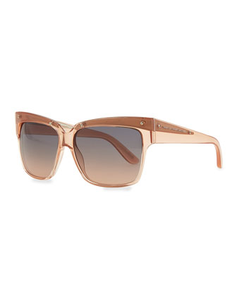 Transparent Plastic Square Sunglasses, Pink