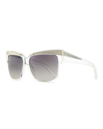 Transparent Plastic Square Sunglasses, Clear/Gray