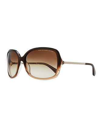 Plastic Oversized Sunglasses, Brown