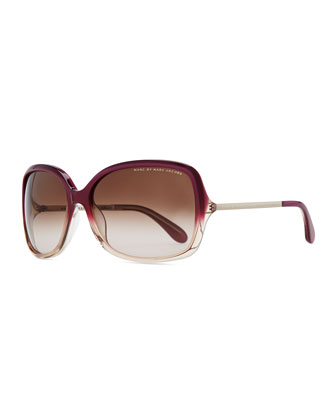 Plastic Oversized Sunglasses, Purple/Peach