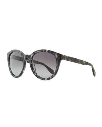Havana Plastic Round Sunglasses, Gray