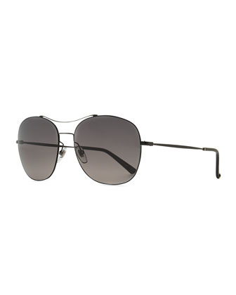 Black Metal Round Aviator Sunglasses