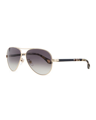 Metal Aviator Sunglasses, Black/Multi