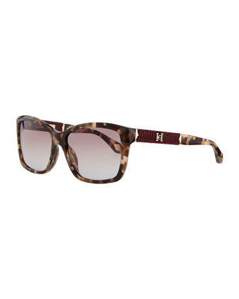 Rectangle Plastic Sunglasses, Dark Havana