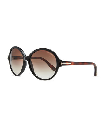 Plastic Oval Sunglasses, Black/Brown