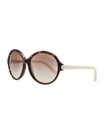 Milena Plastic Oval Sunglasses, Brown/Ivory