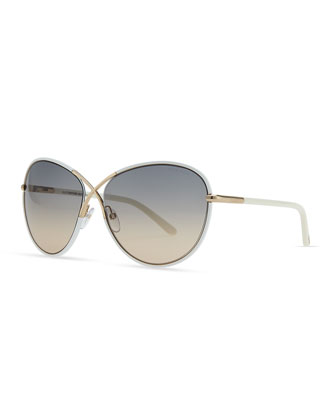Ivory Plastic & Golden Metal Sunglasses