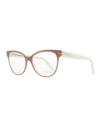 T-Temple Cat-Eye Fashion Glasses, Pink