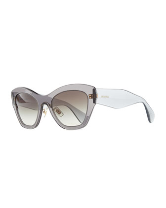 Clear Plastic Cat-Eye Sunglasses, Gray