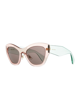 Clear Plastic Cat-Eye Sunglasses, Pink/Green
