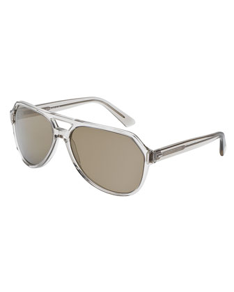 Plastic Aviator Sunglasses, Gray