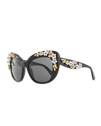 Plastic Cat-Eye Sunglasses with 3D Flowers