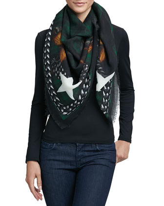 Doberman Square Wool Scarf, Emerald Green