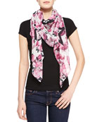 Roses And Stars-Print Chiffon Scarf