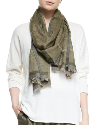 Double-Color Woven Cashmere Scarf, Light Mix