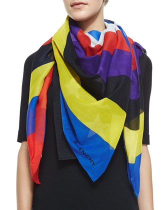 Colorful American Flag Scarf, Black/Multi