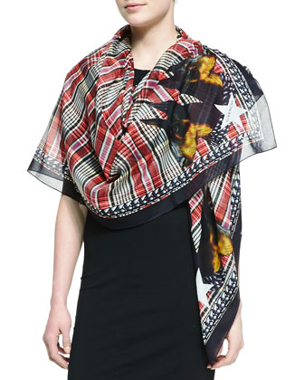 Cotton Doberman Scarf, Red/Multi