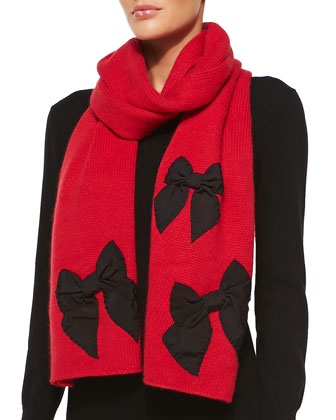 stitched bow scarf, red