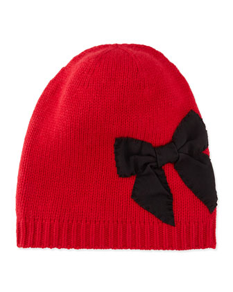 slouchy stitched bow beanie, red