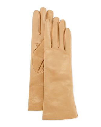 Cashmere-Lined Leather Gloves, Dune