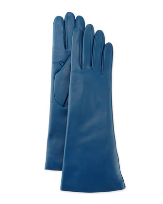 Cashmere-Lined Leather Gloves, Marine
