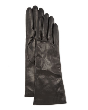 Cashmere Lined Leather Gloves, Black