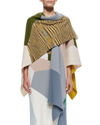 Colorblock Rib Knit Cashmere Shawl, Olive/Multi