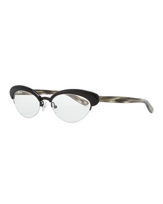 Acetate Half-Rim Fashion Glasses, Black