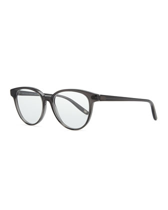 Rounded Acetate Fashion Glasses, Dark Gray