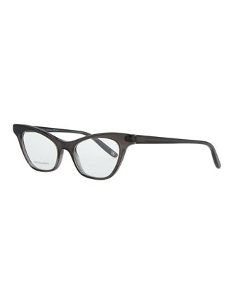 Cat-Eye Acetate Fashion Glasses, Dark Gray