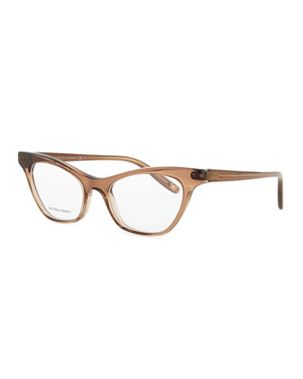 Cat-Eye Acetate Fashion Glasses, Brown