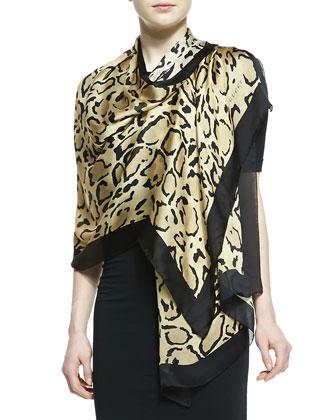 Lynn Leopard-Print Silk Stole, Sand/Black