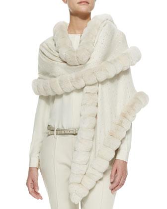 Oval Chinchilla Fur Crystal Wrap, Vanilla Ice