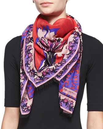 Khiva Printed Wool-Silk Scarf, Red