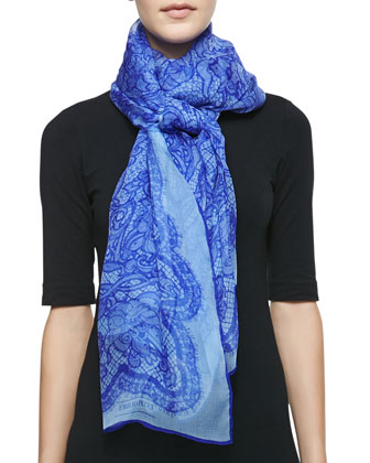 Lace-Print Silk Scarf