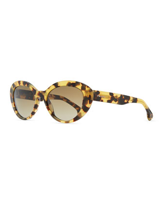 Round Logo-Temple Sunglasses, Light Havana