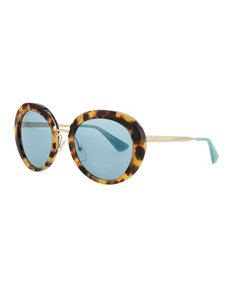 Round Thin-Temple Sunglasses, Light Havana