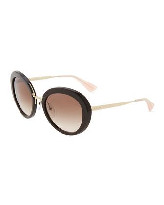Round Thin-Temple Sunglasses, Havana